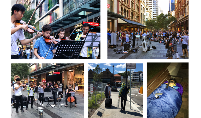 Busking at Pitt Street Mall, week 1 of campaign