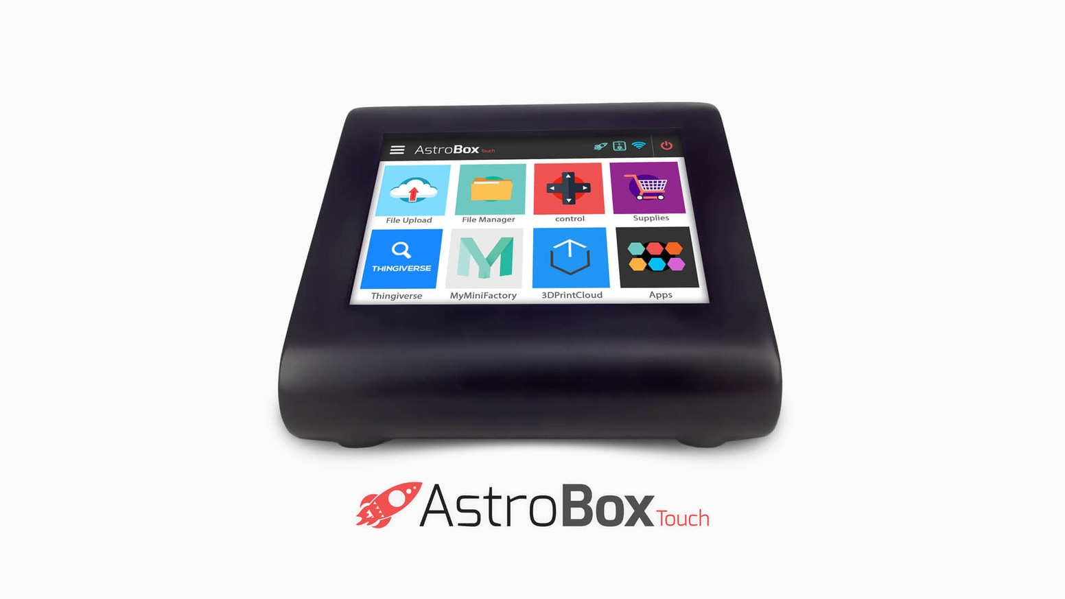 The AstroBox Touch is a simple, powerful touchscreen that is wireless, cloud connected, and infinitely extensible with apps.