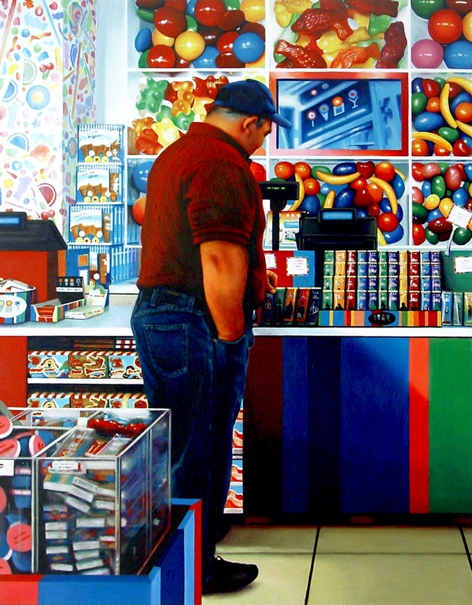 """Candy Shop, acrylic on masonite, 35 1/2"""" x 27 2/3"""" or 90 x 70 cm, available as one of the art prints"""