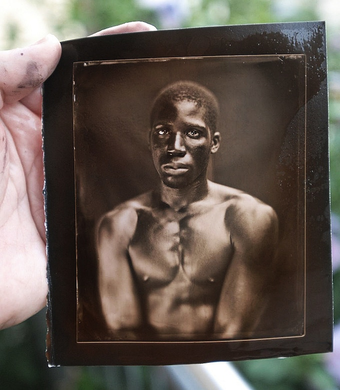 A freshly printed, and toned, Salt print from a wet collodion negative. 2009