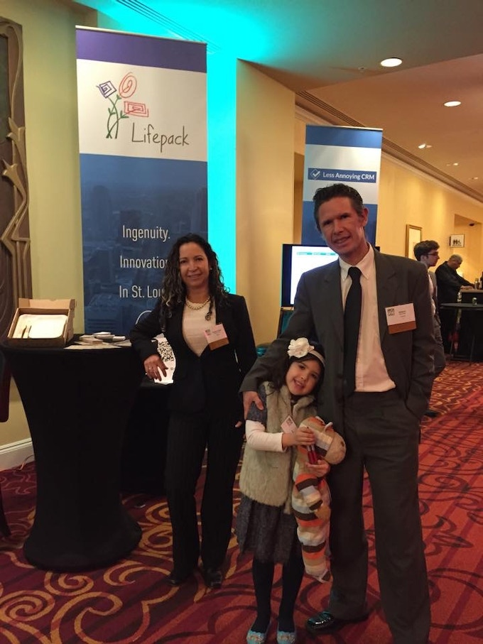The day we received the Arch Grants in St. Louis - Missouri. We are the Co-Founders Claudia, Andres and Princess Isabella.
