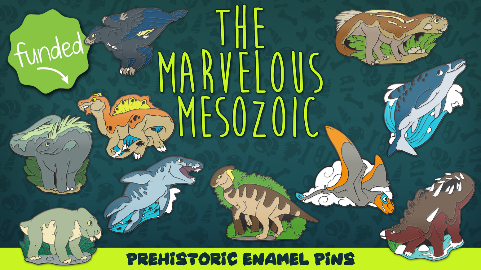 An illustrative set of soft enamel pins featuring creatures from the Mesozoic era.
