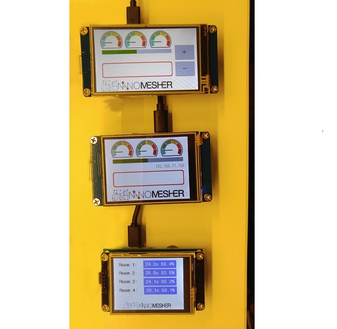 "3.2"", 2.8"" and 2.4"" Nanomesher Wireless HMI prototypes"