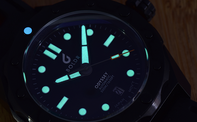 The Odyssey dial has BGW9 Superlume markers for legibility in dark depths