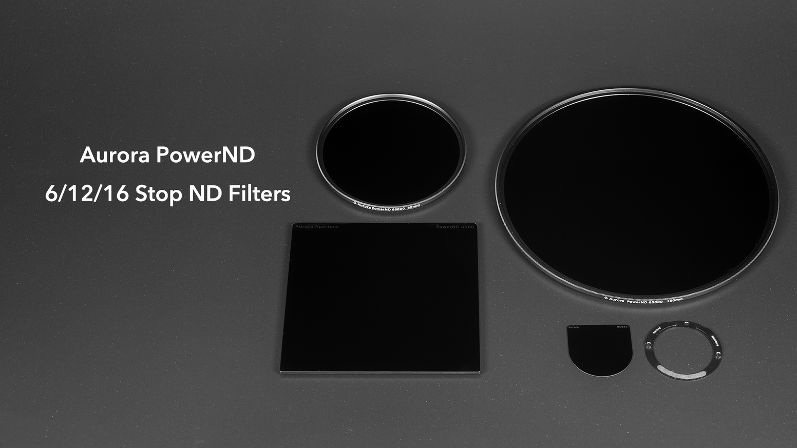 ND filters of 6, 12, and 16 stops with formats of circular (37-95mm), 100x100mm, Canon EF 11-24 F4L rear adapter, and Nikon 14-24/2.8.