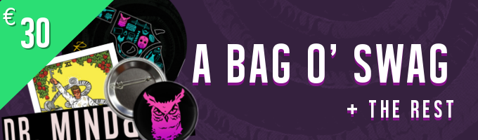 Your bag o' swag contains the following: 1x neon Dr. Mindflip character badge 1x Dr. Mindflip tarot portrait card 2x different groovy Dr. Mindflip stickers (a looong one and a rrround one, featuring the DRMF logo and album artwork)