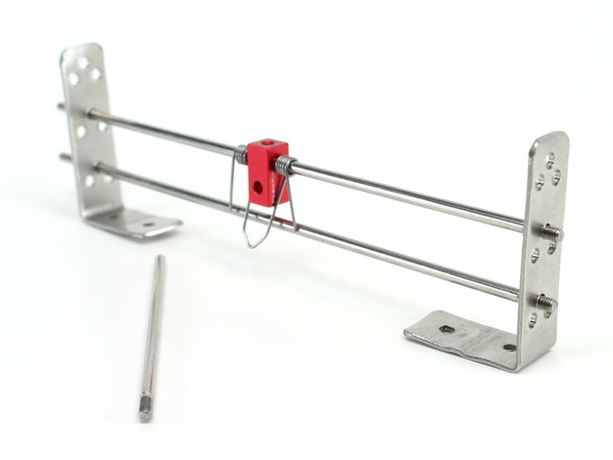 Support Set, showing handmade prototype brackets and torsion spring.  Stainless steel rods are ⌀3mm x 150mm and ⌀3mm x 85mm.