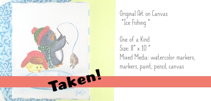 """Ice Fishing"" Original Art on Canvas 8x10"