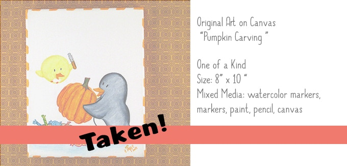 """Pumpkin Carving"" Original Art on Canvas 8x10"