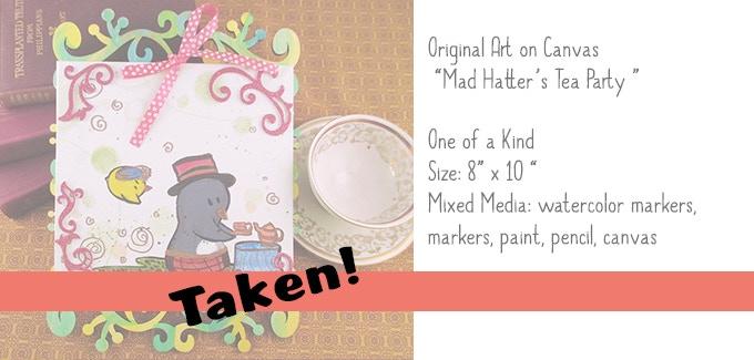"""Mad Hatter's Tea Party"" Original Art 8x10"