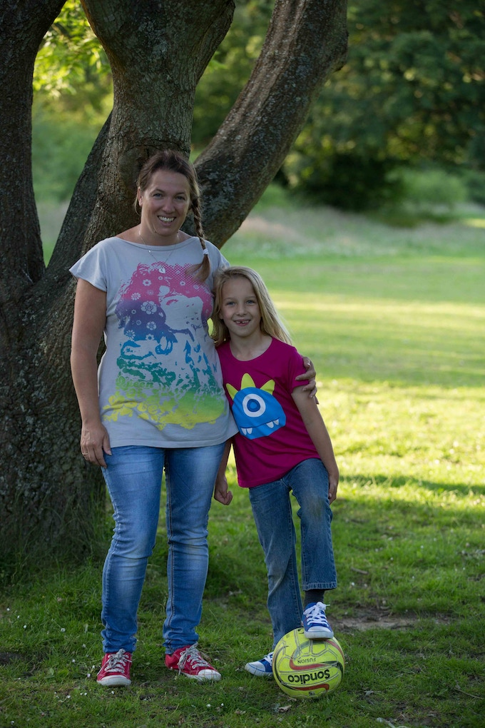 "This photo shows my daughter and I back in 2015, when we launched our t-shirt brand, Climbing Trees – to show that ""girls like dinosaurs, robots and pirates too!"""