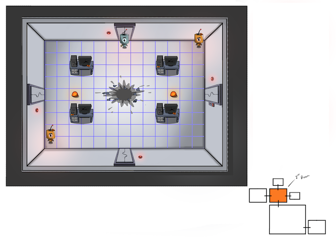 (De-constructed view of a room layout)