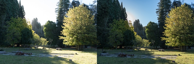Left: Overexposed (lost highlights) Right: Properly exposed