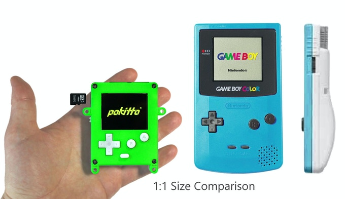 Pokitto is similar to classic game consoles, but smaller in size and is based on modern energy efficient technology. In our test program, Pokitto ran 8 hours with backlight and display on!
