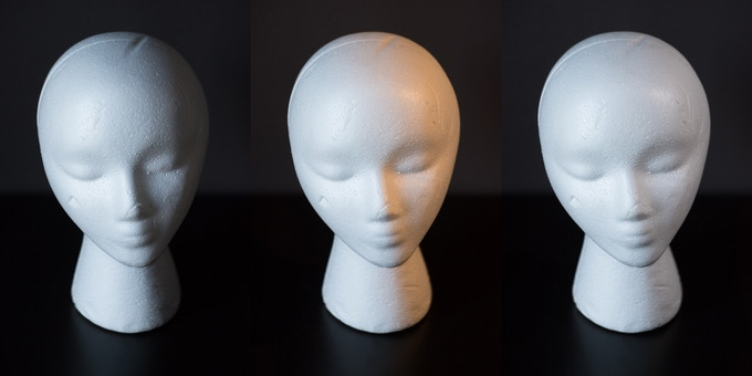 Left: Daylight only, Middle: Daylight + Tungsten, Right: Daylight plus matched color balance