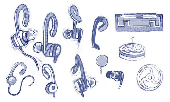 Sketch drawings of various parts of the earphone