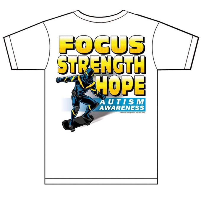 Autism Super Hero Tee shirt Design by Dave Beaty, an Official Marvel Comics Artist & Film Ethnography LLC