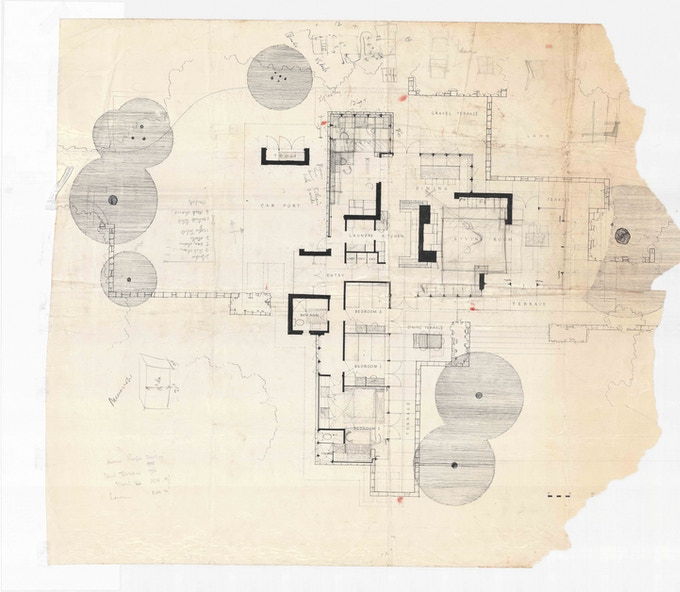Bruce Rickard, Sketch Design Floor Plan, Evatt House.