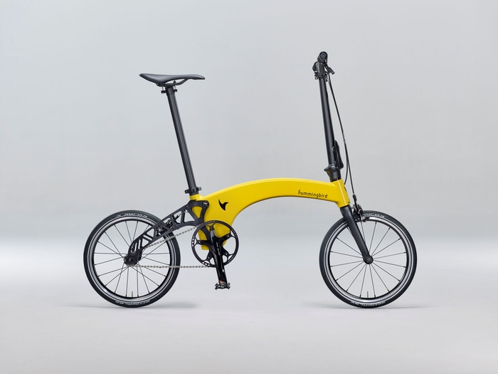 We're excited to bring you The Hummingbird, the lightest folding bike in the world. It weighs only 6.9kg and it's made of carbon fibre!
