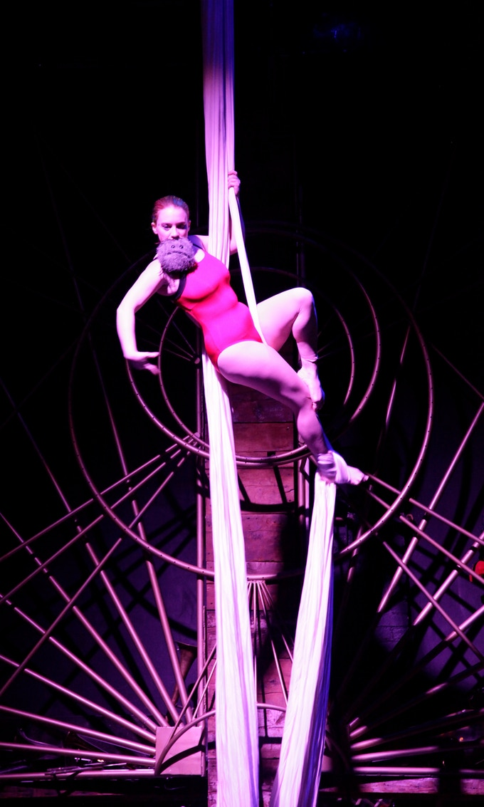 Stav performing on the silks, with her plush cancer in her hand