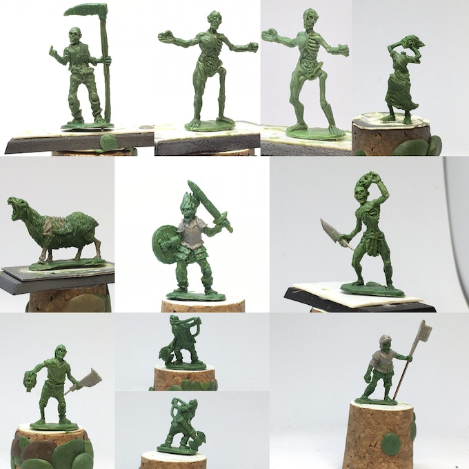 Glorious Dead has the Necromancer and Nine zombie miniature, some shown at multiple angles for clarity