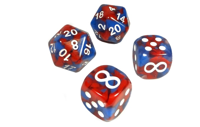 """Rolling a 10 or 20 on the d20 causes it to """"explode,"""" adding to the total! The infinity symbol on the six-sided Bonus Die adds +5 to your damage and allows you to roll again!"""