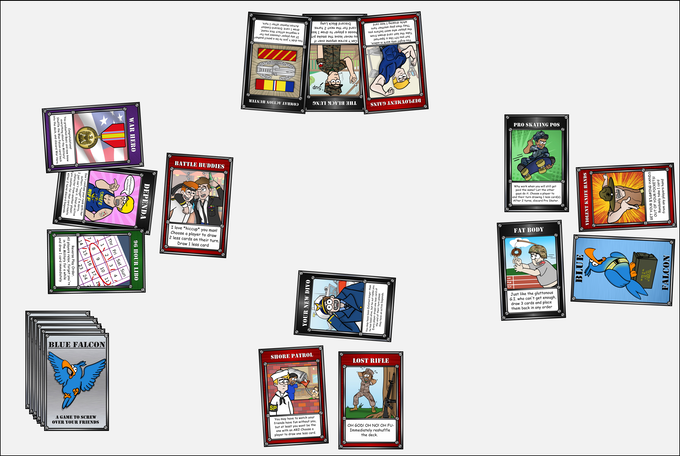 A round with character and action cards in play