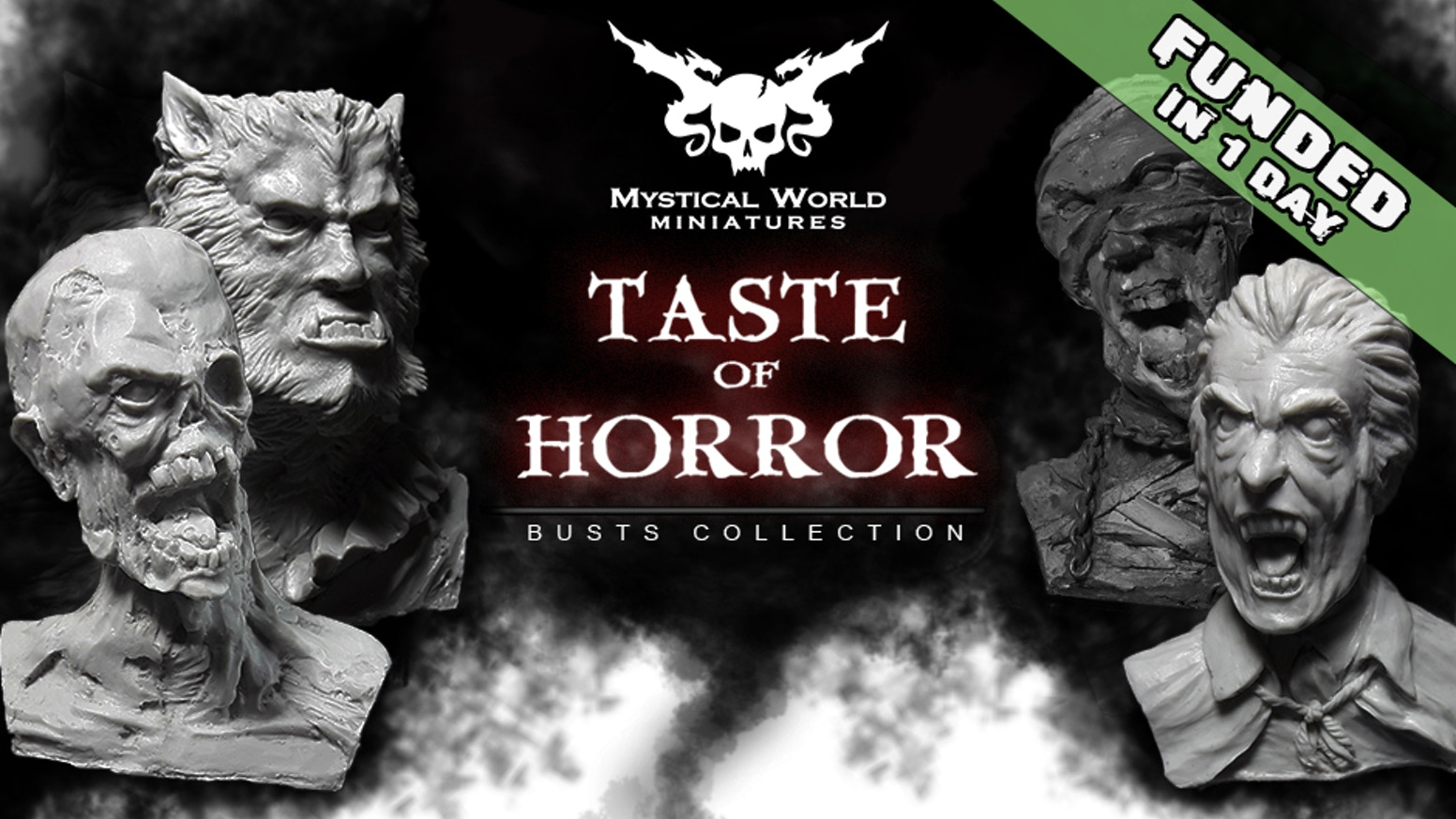 Mystical World Miniatures present Taste of Horror. Resin busts 1/8 scale, horror characters. Please support us and help bring these out
