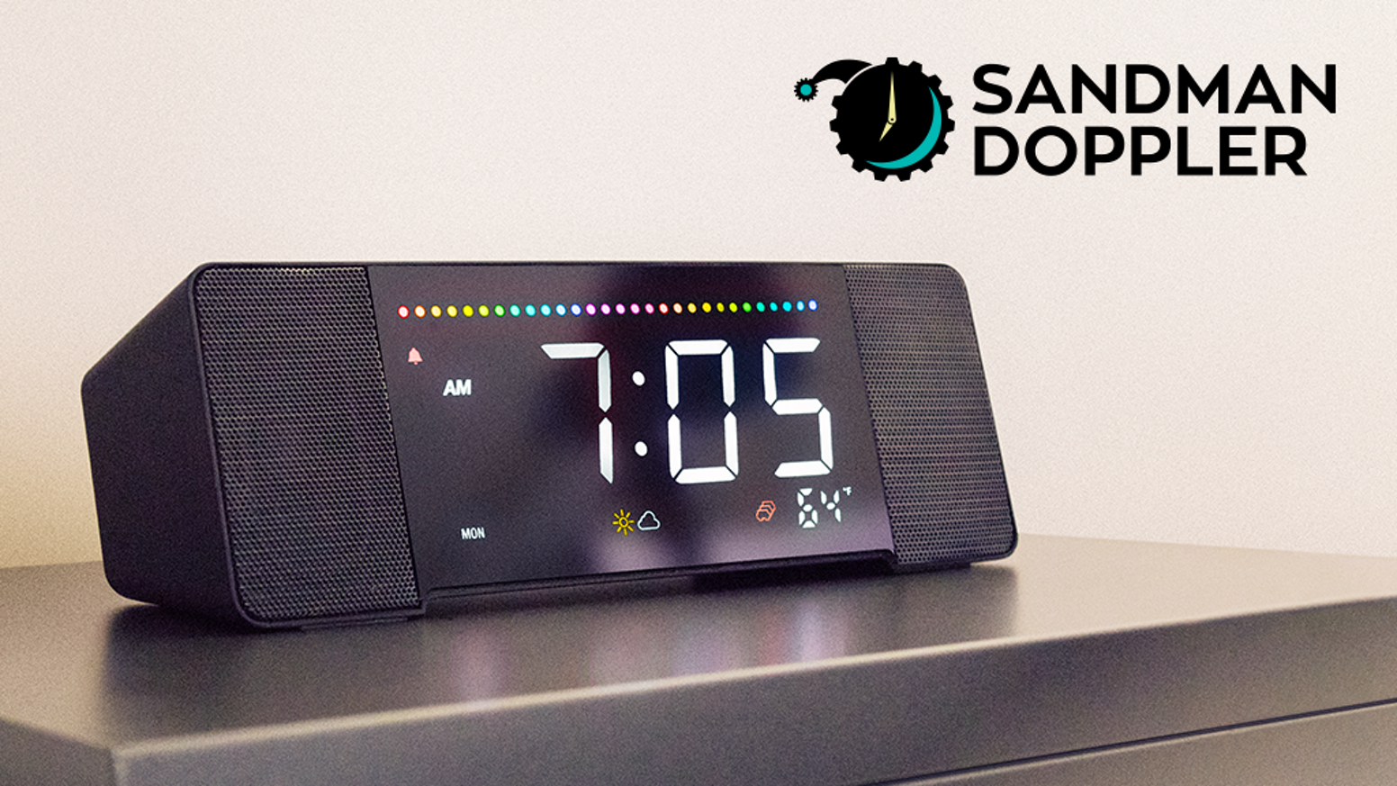 Alexa enabled, 6 USB charging ports, music playing, smart alarm clock. Meet the Sandman Doppler, the best alarm clock you've ever seen! Preorder now!