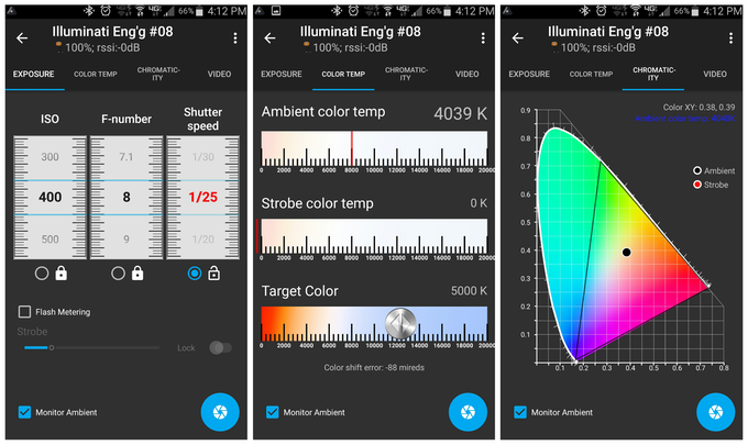 Ambient reading screens showing exposure, color temp, and chromaticity