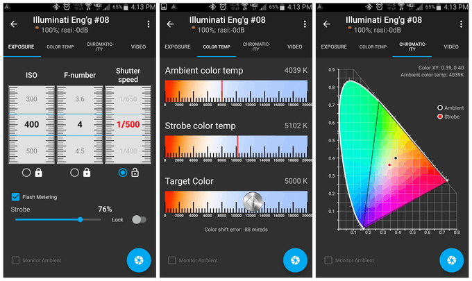Strobe reading screens showing exposure, color temp, and chromaticity
