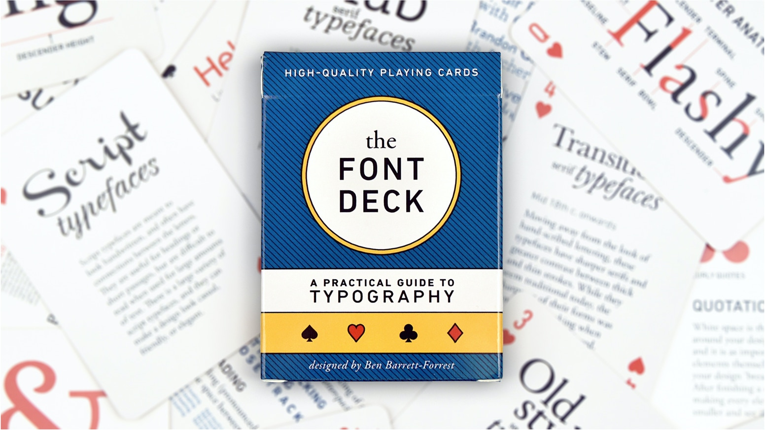 Learn about typography while playing poker. This beautiful, casino-quality deck of cards doubles as a practical guide to fonts.