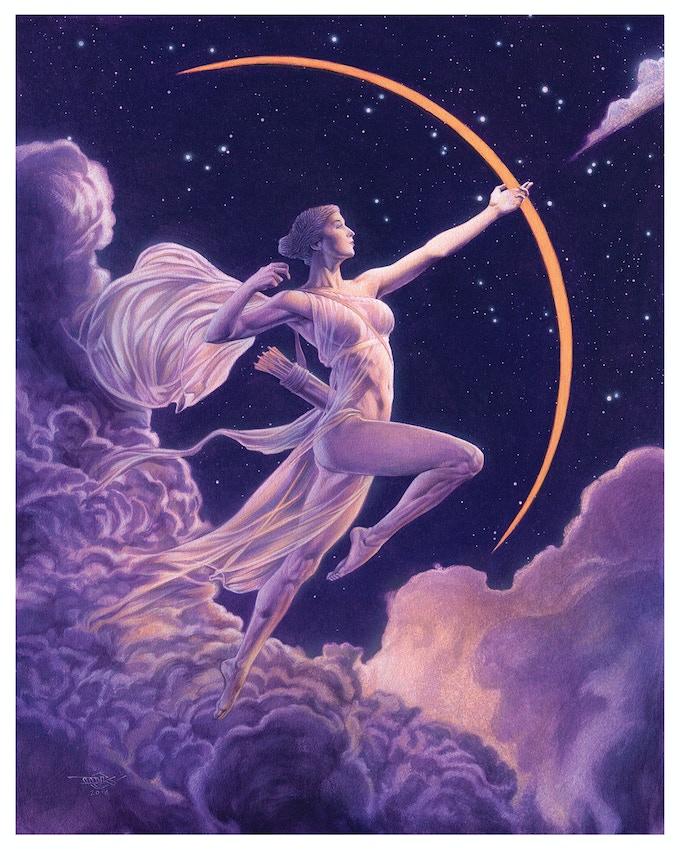 Diana Moon Goddess Art Deco Signed Print Douglas C Klauba By Thomas