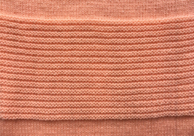Double row garter stitch sample.
