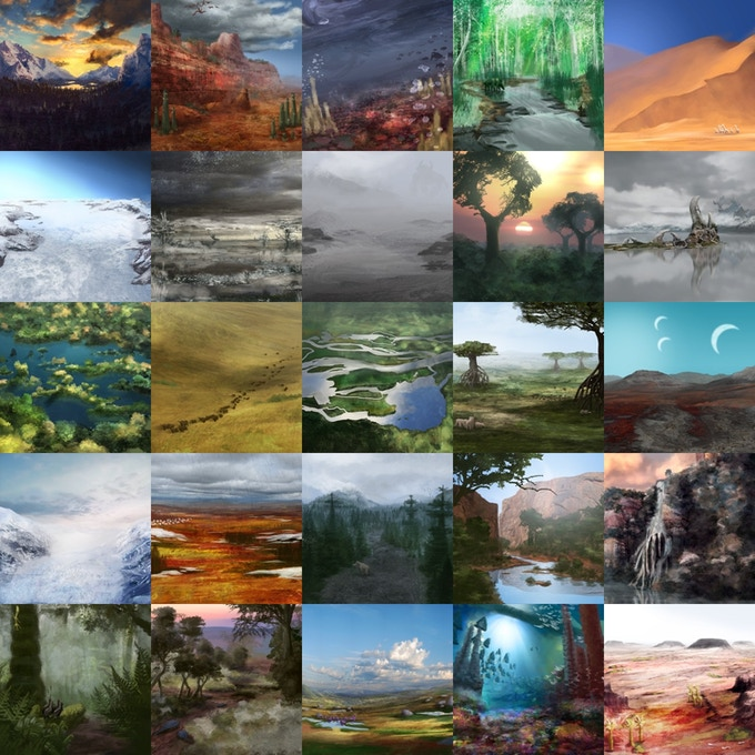 Sample illustrations of biomes in Outer Colony.