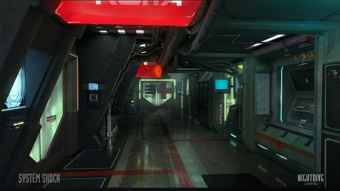 Concept environment art of the Medical Deck hallway by Robert Simon.