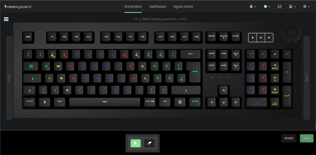"""The Q software supports different layouts as well. Here's the Q Desktop application with the """"Best typing position"""" RGB profile on a German keyboard layout."""