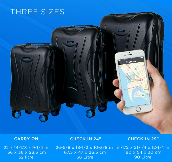 db978525b8 Never worry about overweight baggage fees again. E-CASE includes an  innovative scale built into the wheels. No need to lift the bag. Just open  the app