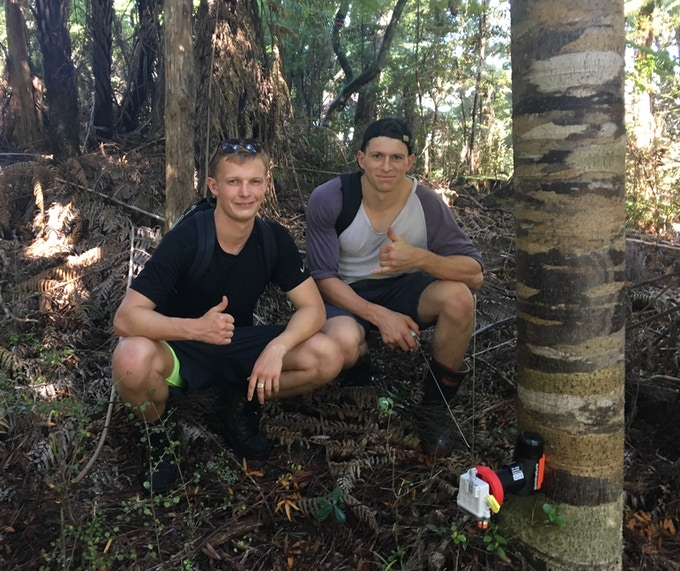 Cofounders Alex and Fraser after successful Matuku Link install