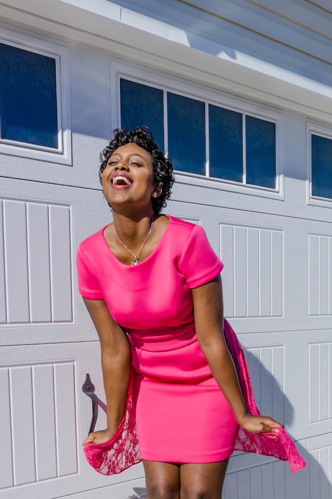 La Cherie dress in candy pink