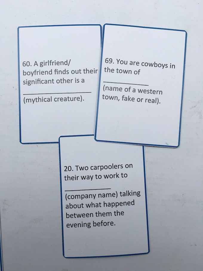 Examples of scene cards