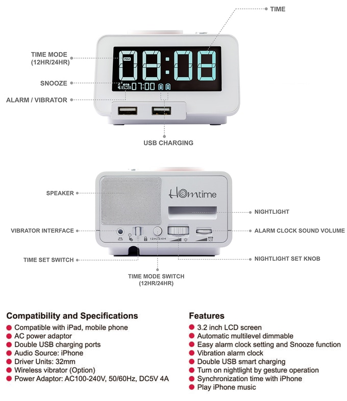 C2: 4-in-1 Alarm Clock With Wireless Bed Shaker by Nathan Rd
