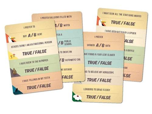 Some of the question cards from the game.