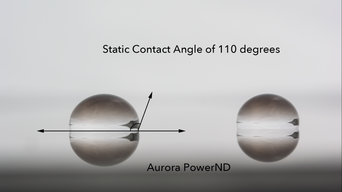 Static contact angle of PowerND coating