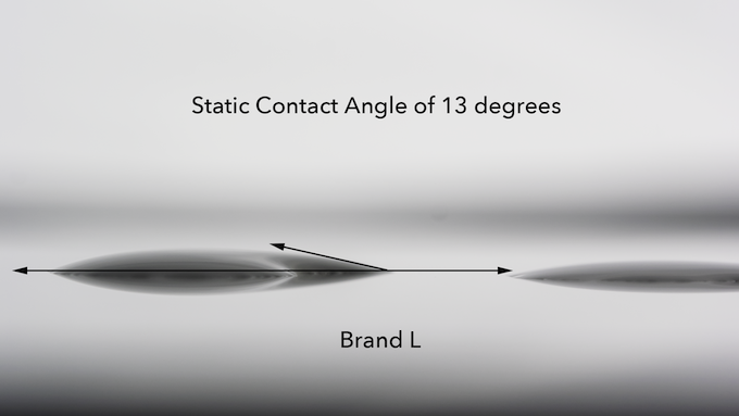 Static contact angle of Brand L (no coating)