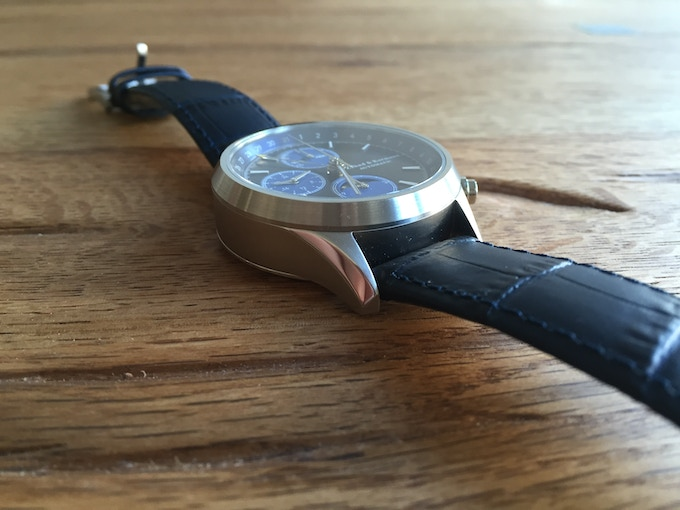 41 mm Stainless Steel (or black PVD) case, 10 ATM, 2 genuine leather straps with quick release system