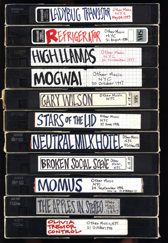 VHS tapes of in-store performances at Other Music