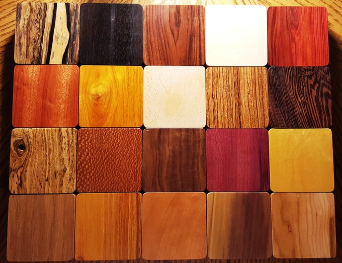 20 wood species ready to be made into the case of your dreams.