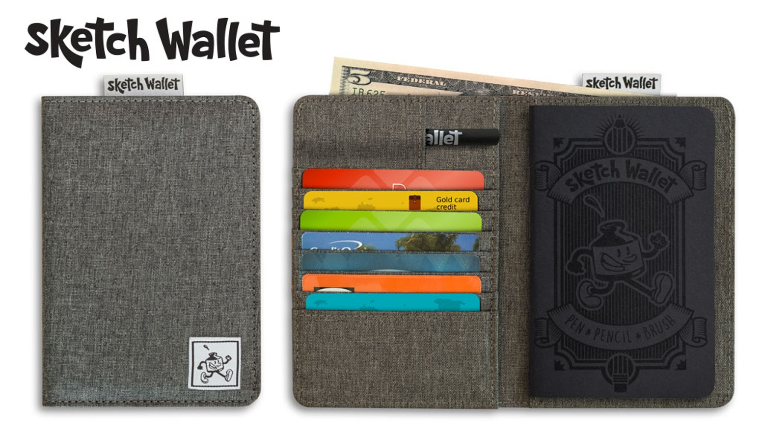 Always have your sketchbook with you with Sketch Wallet! It's a canvas wallet with a replaceable sketchbook inside.