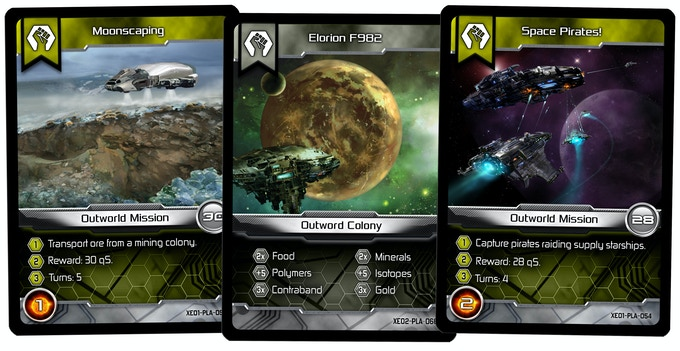 Mission and Colony (Trade Agreement) cards for the Brethren faction.